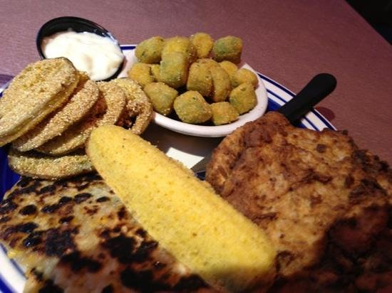 Ramsey S Diner Fried Pork Chop Fried Green Tomatoes Fried Okra Corn Oysters