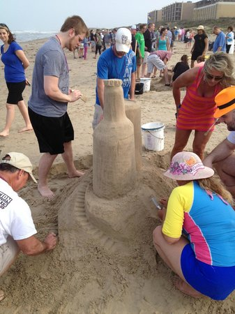 "Pearl South Padre: Sand Castle building contest being held on the beach ""not us"""