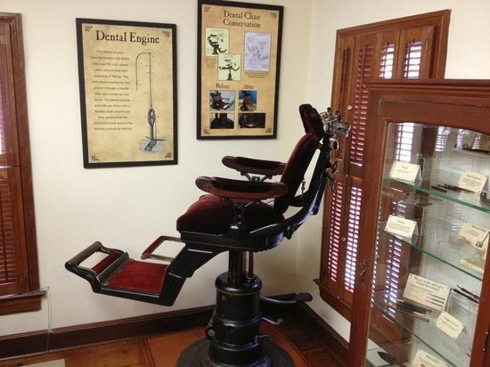 """Country Doctor Museum: Old dental chair (""""Dental Engine"""" not in frame)"""