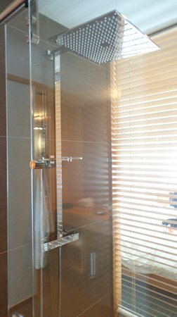 Hotel Le Germain Maple Leaf Square: The glass-enclosed shower with louvre blind