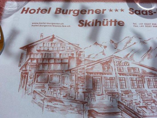 Hotel Burgener: Essensunterlage