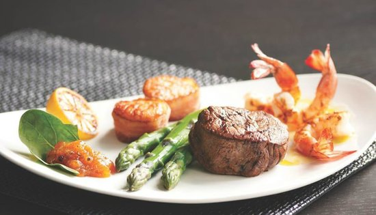 Morton's - The Steakhouse: Mixed Grill- shrimp, scallops and steak
