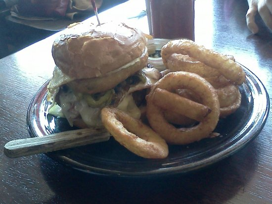 Hungry Toad: Toadzilla Burger with Onion Rings