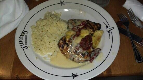 Saltgrass Steak House: Stuffed Chicken with scampi rice