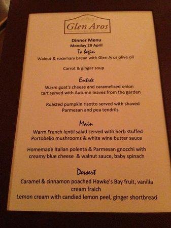 Glen Aros Country Estate: dinner menu