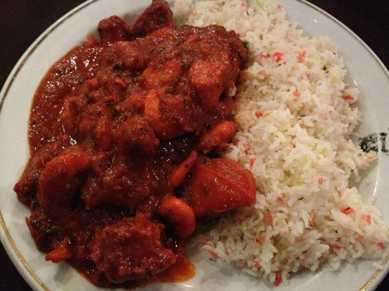 "Eastern Delights: Curry and Rice on special ""Eastern Delight"" plates"