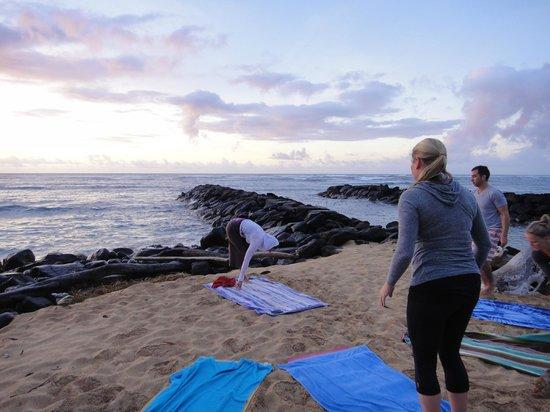 Kauai Yoga On The Beach Setting Up For Session