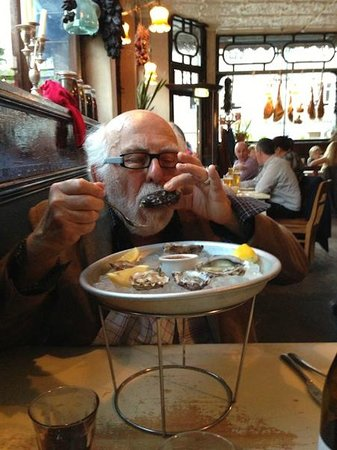 Enjoying oysters at the Norfolk Arms, April 2013