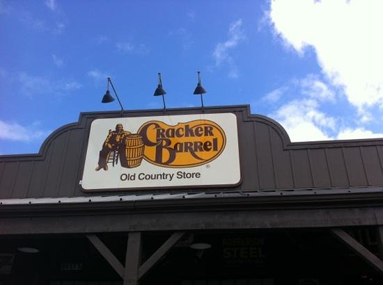 Cracker Barrel: The sign of the place.