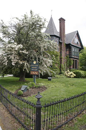 The William Henry Miller Inn: Our beautiful hawthorn tree in bloom