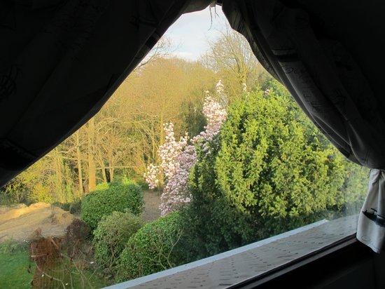 Côté Jardin Bed & Breakfast : Chambre bleu: vue vers le jardin