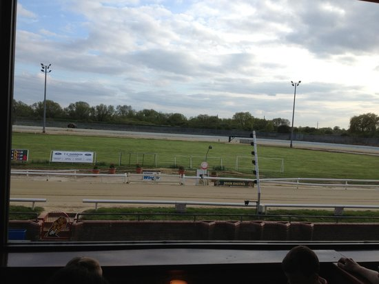 Peterborough Greyhound Stadium: The view from our table, the finishing line
