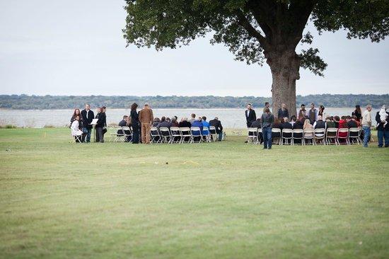 Pelicans Landing Waterfront Restaurant: Wedding ceremony location under big oak tree!