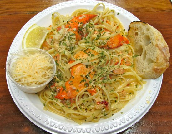 Native Cape Cod Seafood: Lobster Scampi with linguini, crusty bread and parmesan. Perfect!