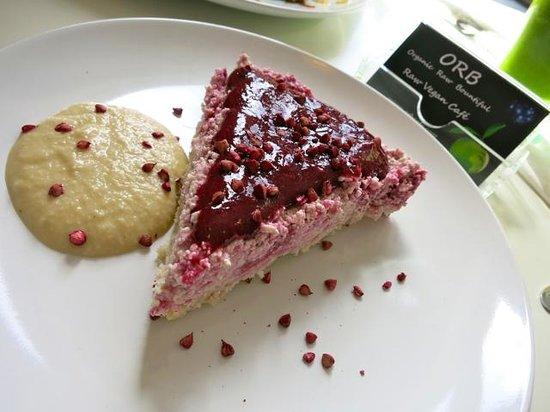 Orb raw food cafe: White Chocolate & Raspberry Cheesecake