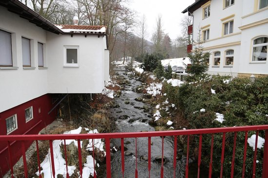 Wellnesshotel Germania: River view, parking lot is right and to the left