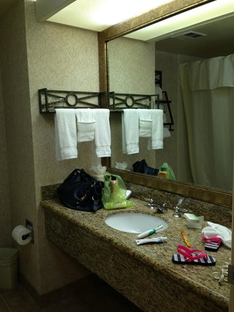 Homewood Suites by Hilton Austin South: The bathroom [excuse the mess] of the king room of the suite.