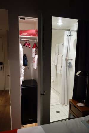The Nolitan Hotel: Wardrobe and shower