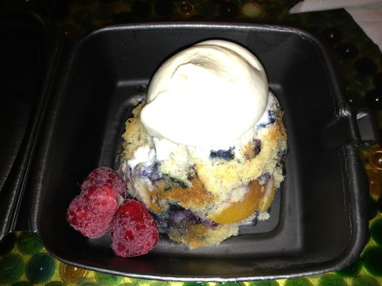 Clementine Cafe: Blueberry peach cobbler with vanilla ice cream and berries