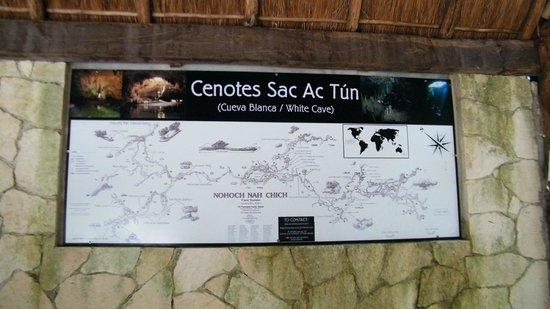 Sac Ac Tun : Mapa de los Cenotes
