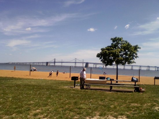 Sandy Point State Park Beach With Bay Bridge In The Background