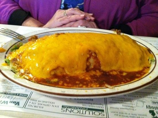 Mario's Pizza: Wet burrito is enormous mound of food fit for a lady.