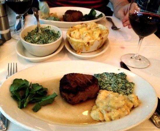 Morton's The Steakhouse - Chicago - Wacker Place: Charred-rare fiet mignon, creamed spinach, au gratin potatoes