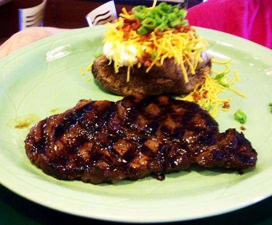Little Texas Restaurant: Texas Ribeye with loaded baked potato