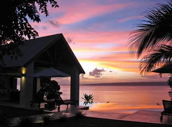 Sunset over Dream Cove from Villa 25