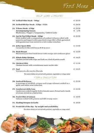 Food menu foto di q bar restaurant malta la valletta for Bar food la menu