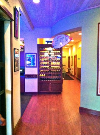 Lulu's Oceanside Grill: The dinner wine case is in the central hall way between the dining rooms.