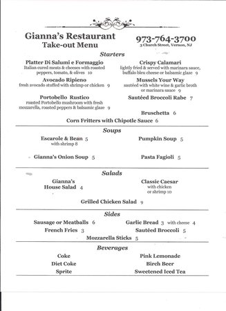 Gianna's Restaurant: New menu