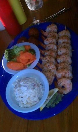 Dockside Cafe: Jerked Shrimp Dinner with 2 sides Baked Potato Salad &
