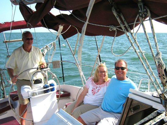 Anna Maria Sailing Adventures: One of our group gets to try his hand at sailing.