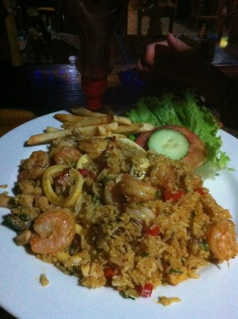Kike's Place: A seafood and rice dish