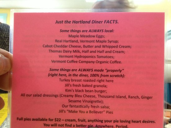 Hartland Diner: List of local farms and what food they provide