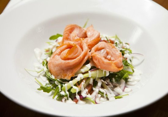 The Cow Shed : Starters include Hot Smoked Salmon salad