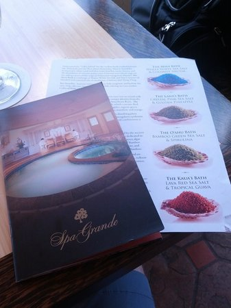Spa Grande : spa menu and salt bath sheet