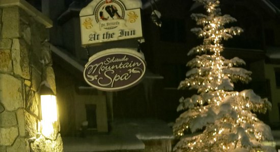 Exterior sign at St. Bernard's (right in the middle of their own winter wonderland)