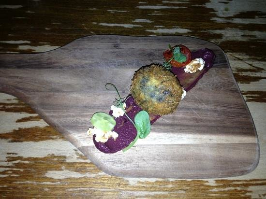 THE TREBY ARMS: Black pudding Scotch egg, Red cabbage ketchup