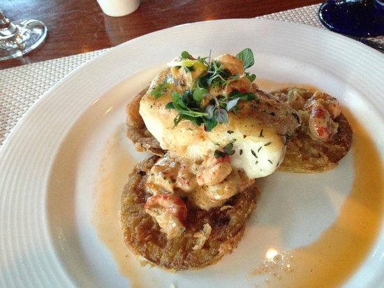 Harbourside Bar & Grill: Blackened grouper over green fried tomatoes, topped with craw-fish and creamy creole sauce