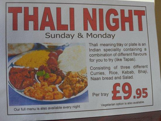 Nobanno Lakeside Indian Restaurant: Thali nights - Sundays and Mondays