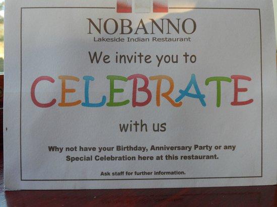 Nobanno Lakeside Indian Restaurant: Good venue for a celebration!