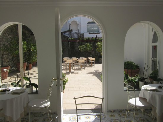 Hotel Canasta: from breakfast room looking out onto patio