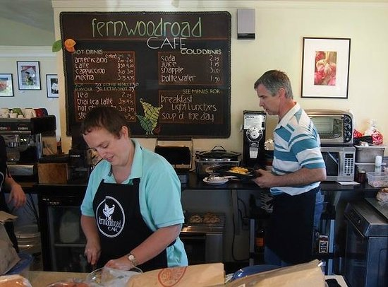 Jen and Dave Shaw are in the Fernwood Road Cafe preparing food for customers.