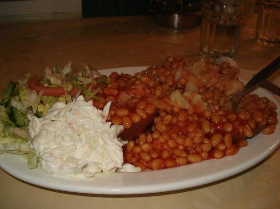Riordan's: My meal--beans over a potato