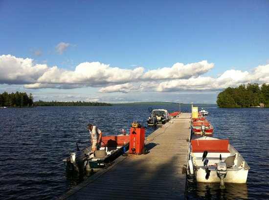Rideout's Lodge: The dock lined with boats for fishing...