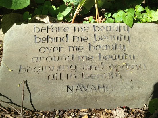 Stone House Farm Bed & Breakfast: Navajo blessing on stone in garden