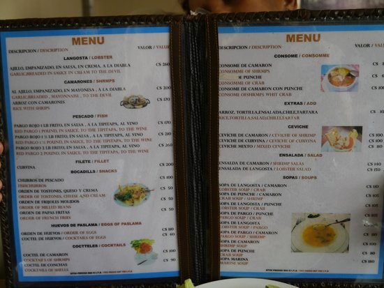 Big menu of fish dishes fotograf a de pescamar matagalpa for Big fish menu