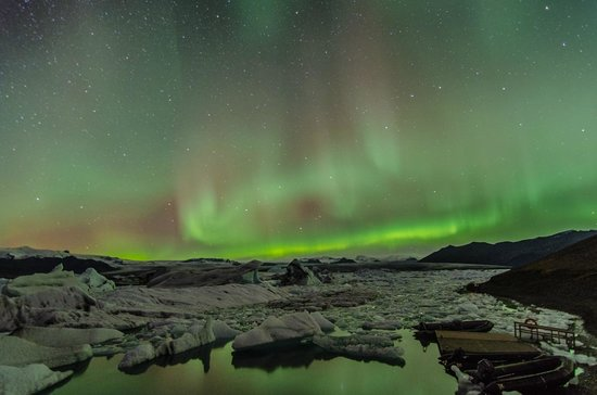 Hali Country Hotel: Northern Lights over Jokulsarlon lagoon